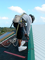 worker working on a rooftop